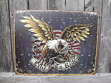 American Eagle Flag Sign Live To Ride Patriotic Metal New Collectible 12 1/2x16