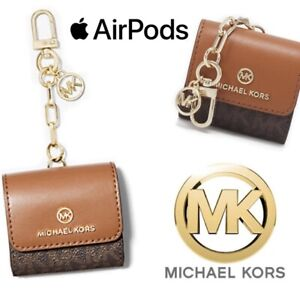 MICHAEL KORS Jet Set Monogram Logo Apple AirPods Case Cover Key Ring Keychain