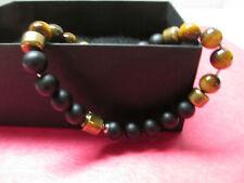 Black Jack Mens Genuine Onyx & Tiger Eye Bracelet- NWT
