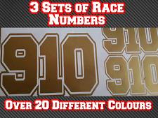 "3 Sets 7"" 180mm Race Numbers Go Kart Vinyl Stickers Decals Track Bike Kart D3"