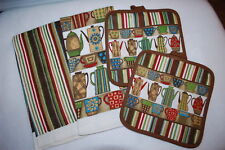 Kitchen Set 2 TOWELS, 2 HOT PADS Brown Green Red COFFEE CUPS CARAFFES Striped