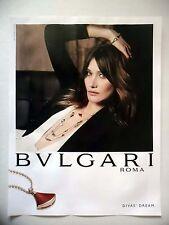 PUBLICITE-ADVERTISING :  BULGARI Diva's Dream 2016 Carla Bruni,Bijoux,Joaillerie