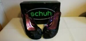Schuh Black Suede and Satin Bow Shoe Slingback Heels Party Prom Formal Size 6