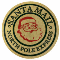24 Santas Mail North Pole Express Vintage Brown Kraft Christmas Stickers Labels