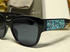9b53eabe75f CHRISTIAN DIOR MERCURIAL Shiny BLACK BLUE Crystals Frame Sunglasses 54 19  145