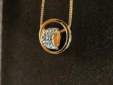 Anhänger 24 Karat Gold Ring Herz Strass Liebe Love Halskette Schmuck Blau