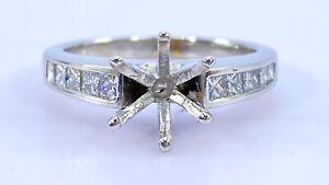.35 ct  DIAMOND semi mount princess engagement ring 14k white gold 8 mm (VIDEO)
