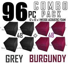 ComBo 96 pack BURGUNDY and charcoal GREYAcoustic Wedge Sound Studio Foam 12x12x1