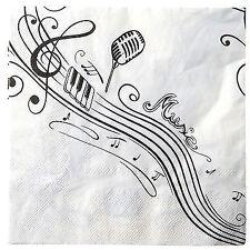 Servietten Musik Music Notenschlüssel Noten Napkin  Dekoration 33x33cm