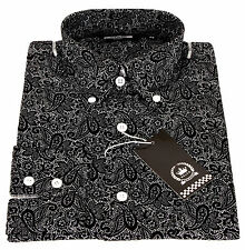 Relco Mens Black White Paisley Print Long Sleeved Shirt Mod Skin Retro Vintage XL