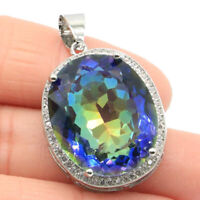25x20mm Big Oval Gemstone Fire Rainbow Mystic Violet Topaz CZ Silver Pendant
