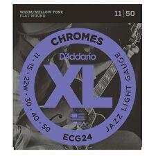 D'Addario ECG-24 XL Chromes Flat Wound Electric Guitar Strings 11-50 jazz light