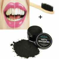 Activated Charcoal Teeth Whitening Powder + 1 Bamboo Toothbrush