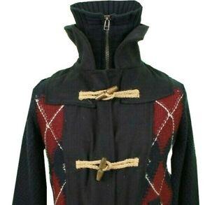 Desigual Cardigan Medium Wool Mix Knit Toggle & Zip Blue Red Argyle Tartan