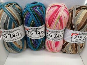 SALE YARN King Cole ZigZag 4Ply Sock Yarn 4Ply 100g 11 Shades 75% Wool REDUCED