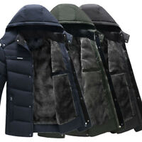 Mens Winter Warm Thick Bubble Hooded Fleece Lined Outerwear Jacket Coat Parka