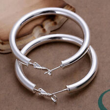 NEW 925 Sterling Silver Large Round Hollow Circle Men Woman Earrings Hoop 5MM