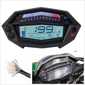 LCD Digital Motorcycle ATV Speedometer Tachometer 1-5 Gear Indicator Clock Meter