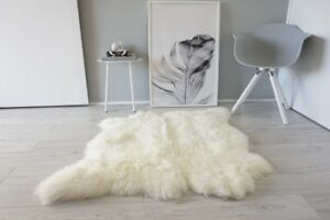 Genuine Natural Double Side by Side Sheepskin Rug Soft Wool C.White Ivory SBN 36