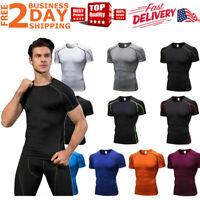 Men Compression Sport Shirt Short Sleeve Base Layer Fitness Running Tights Hot