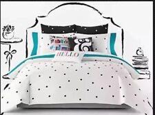 Kate Spade Black Deco Dot Full / Queen Duvet Cover Set W / Shams Polka Dot