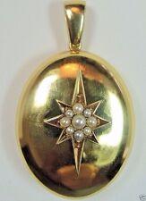 Antique Art Deco Locket 14K Yellow Gold Seed Pearls Vintage Estate Fine Jewelry