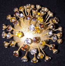 Half Domed Textured Metal Rhinestone Trembler Corocraft Pat Pend Starburst Pin