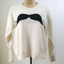 Senorita Women Small / Medium Sweater Off White Mustache Long Sleeve Pullover A3
