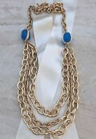 Runway Statement Classic Long Multi Chain Chunky Necklace, Blue Faux Stone, Gold