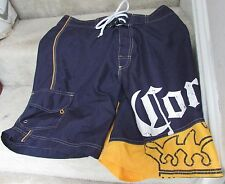 Corona Extra Cerveza Beer Licensed Blue Yellow Board Shorts Bathing Suit Size 30