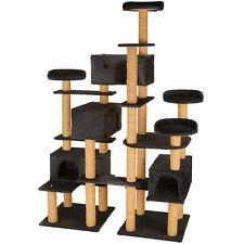 XXL Tiragraffi per gatti 214 cm gatto gioco palestra albero graffiatoio nero