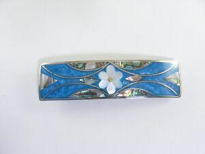 "Alpaca hair clip / barette abalone shell inlay flower desiign blue 3 3/8"" long"