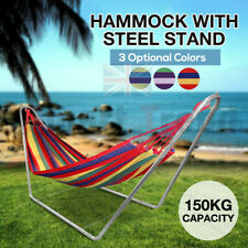 More details for outdoor garden hammock bed with heavy duty stand frame swinging camping travel