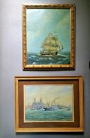 Vintage nautical paintings  oil and watercolor signed
