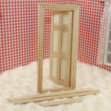 1:12 Scale Dollhouse Miniature Unpainted·Wooden 6-Panel Door With Frame Set Kit