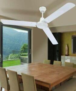 Ventilatore da soffitto Bianco 3 pale + comando a muro Diametro 140 per ventola