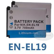 2X EN-EL19 Battery for Nikon COOLPIX S100 S2500 S2550 S2600 S2700 S2800 S2900