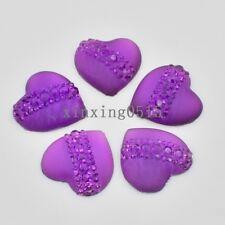 Purple 10 Pcs 20mm resin heart cat's eye Flatback Rhinestone wedding buttons DIY