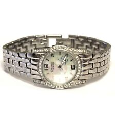 Bulova Caravelle cubic zirconia stainless steel watch 74.4g estate vintage CZ