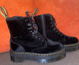 Doc Martens Jadon Velvet Platform Boots black military combat NEW US Size 7