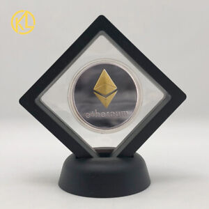 Gold and Silver Ethereum ETH With Case Physical Crypto Coin With Showing stand