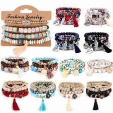Charm Boho Women Multi-layer Stretch Beads Natural Stone Tassel Bracelet Bangle