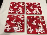 """222 FIFTH MIA BLOSSOMS RED DINNER PLATES 10"""" SET OF 4 RED BLACK WHITE FLORAL"""