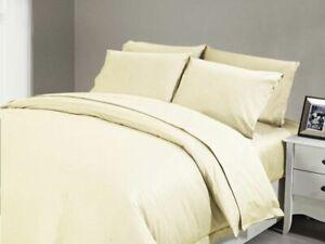 "600TC~5PC Duvet Set+1PC Fitted Sheet Egyptian Cotton UK~Sizes 11"" Deep Pkt Ivory"