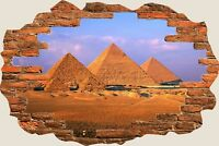 3D Hole in Wall Pyramids Of Egypt View Wall Stickers Mural Art Wallpaper 284
