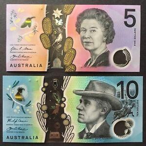 SET 2016/2017 AUSTRALIA 5 10 DOLLARS P-62 63 UNC> > > >QUEEN E II BANJO PATERSON