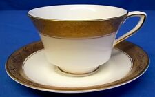 ROYAL WORCESTER LUXURY EMBOSSED GOLD & WHITE C1393 PATTERN TEACUP & SAUCER