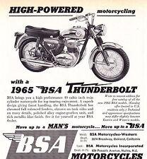 1965 BSA THUNDERBOLT MOTORCYCLE ~ ORIGINAL SMALLER PRINT AD