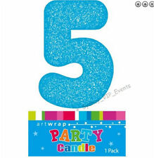 CAKE CANDLE NUMBER 5 GLITTER BLUE 5TH BIRTHDAY PARTY BOYS FIVE 15TH 50TH TOPPER