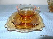 Cambridge 3400 Amber Four Piece Set--Two Plates, Cup & Saucer